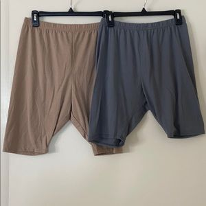 PrettyLittle Thing Gray & Nude Cotton Bike Shorts